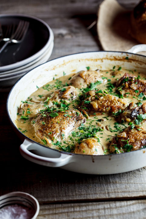 Deeply savoury and delicious, Nigel Slater's Coq au Riesling will quickly become a favorite quickly. Chicken cooked with white wine, cream and mushrooms.