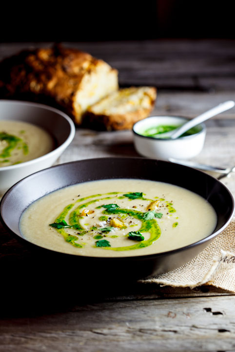 Celeriac & roasted garlic soup with parsley oil