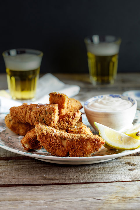 Chunky fish finger's with cheat's lemon aioli
