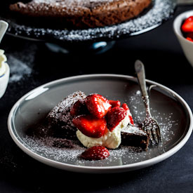 Flourless Chocolate torte with macerated strawberries {Woolworths/Masterchef}