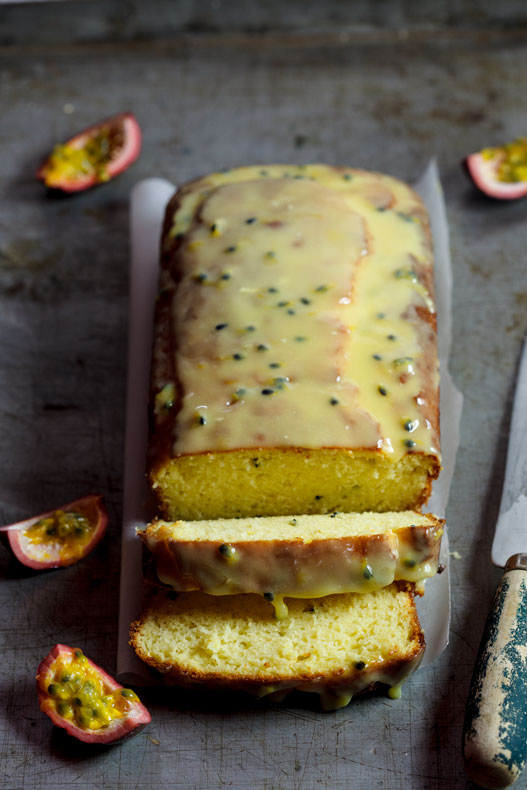 Passion fruit yoghurt cake with white chocolate drizzle