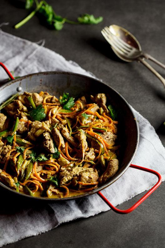 Pork green curry stir fry