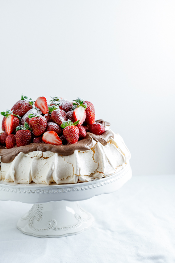 Pavlova with chocolate cream & Strawberries
