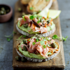 Smoked trout and avo rye