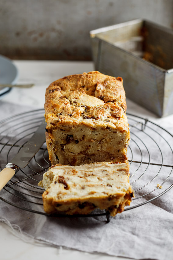 Hot cross bun pudding loaf