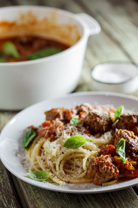 Meatballs cooked in rich tomato sauce - Simply Delicious