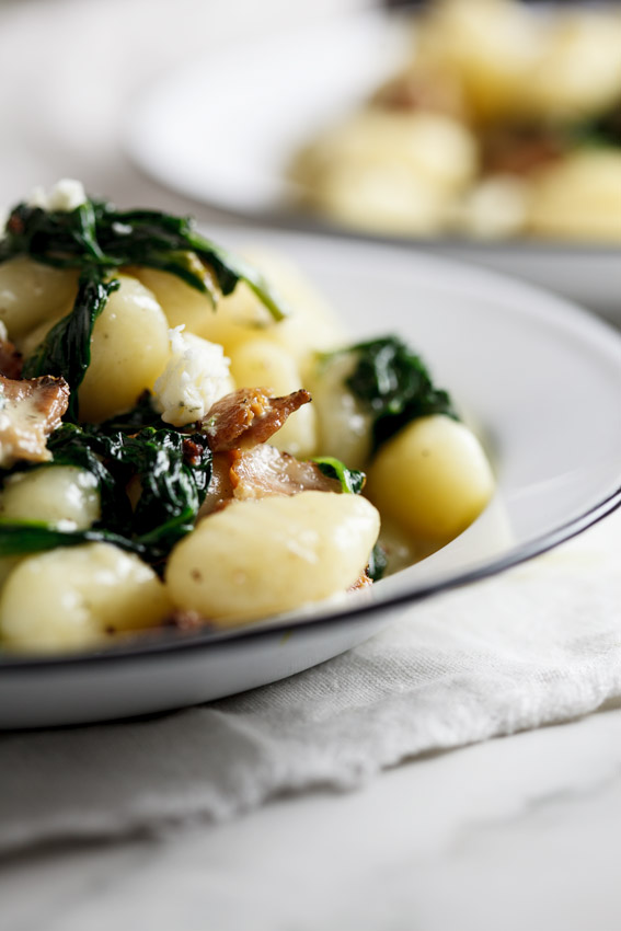 Gnocch with bacon, blue cheese and spinach