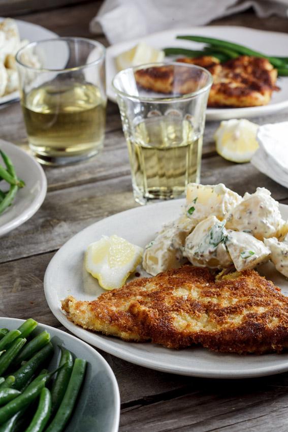 Pork Schnitzel With Warm Potato Salad Simply Delicious