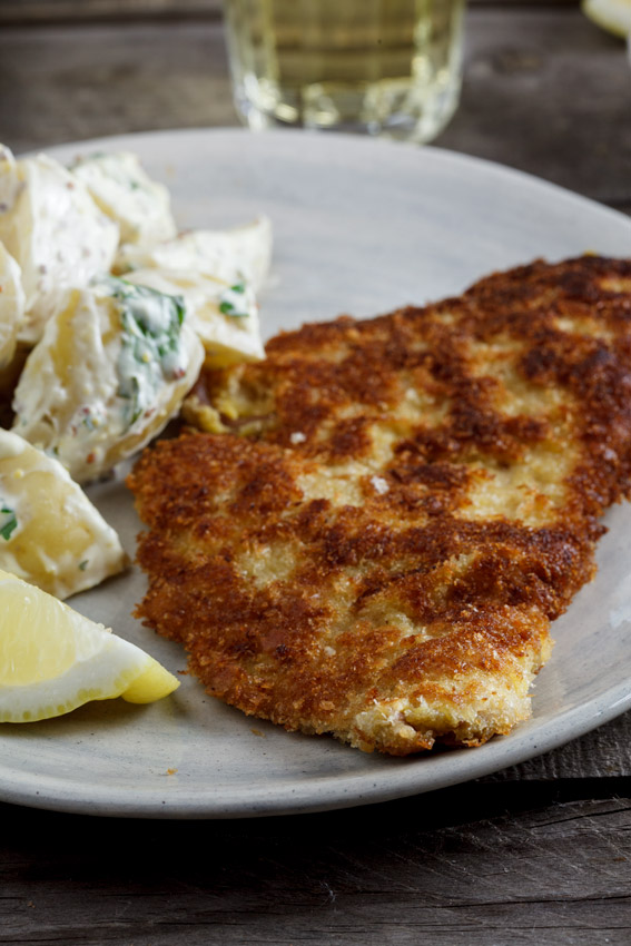 Pork schnitzel with warm potato salad - Simply Delicious