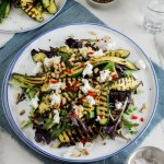 Marinated zucchini, goat's cheese & pine nut salad
