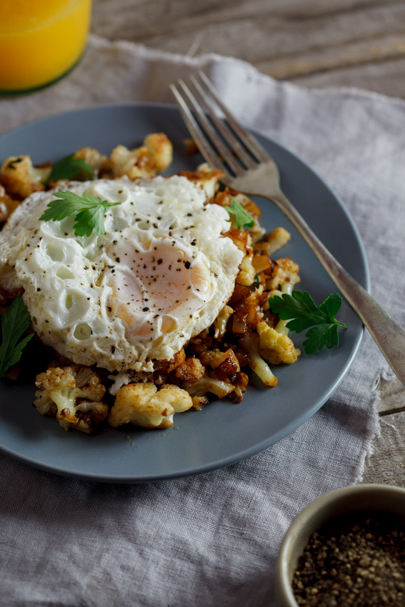 Low carb cauliflower hash with fried eggs