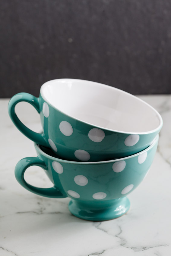 Spotted soup mugs