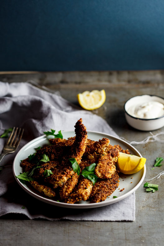 Almond and parmesan crumbed chicken