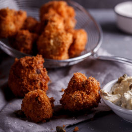 Crumbed cauliflower with caper mayonnaise