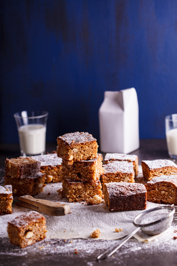 White chocolate, coconut and almond blondies