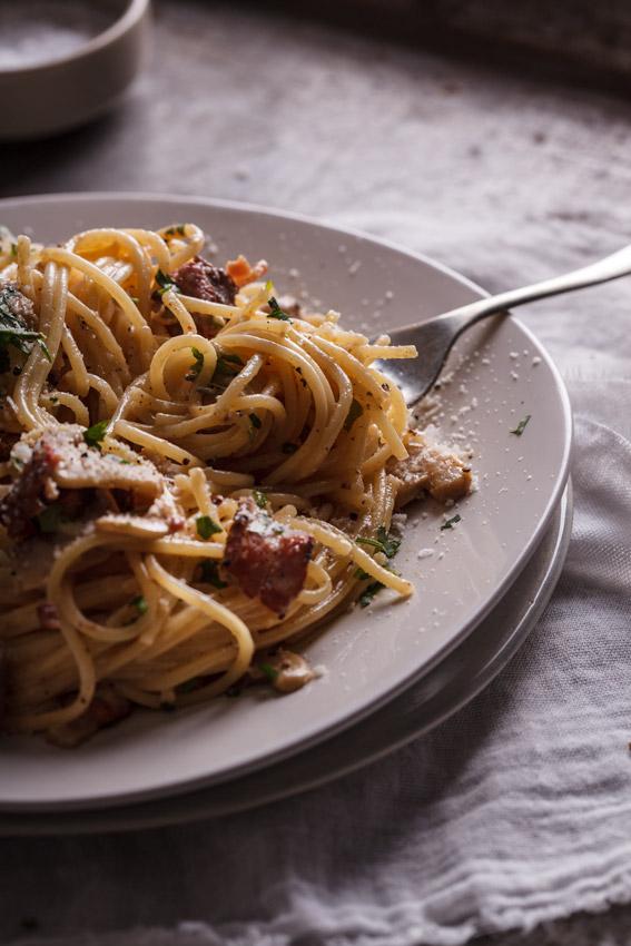Bacon & mushroom pasta