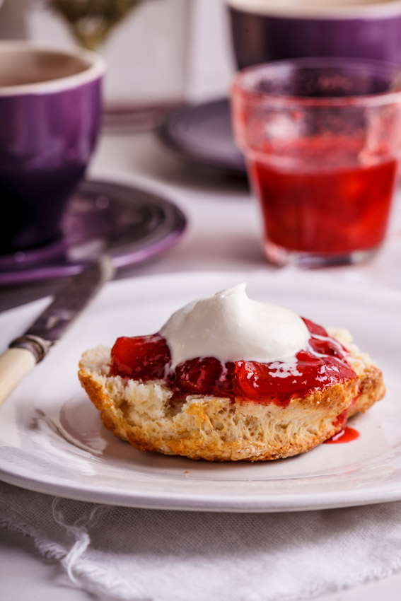 Buttermilk scones with easy strawberry-vanilla jam