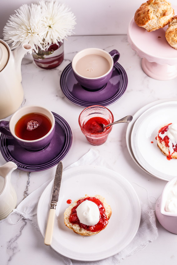Tea table with scones and tea