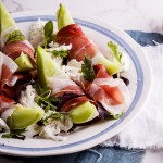 Melon salad with prosciutto and fior di latte