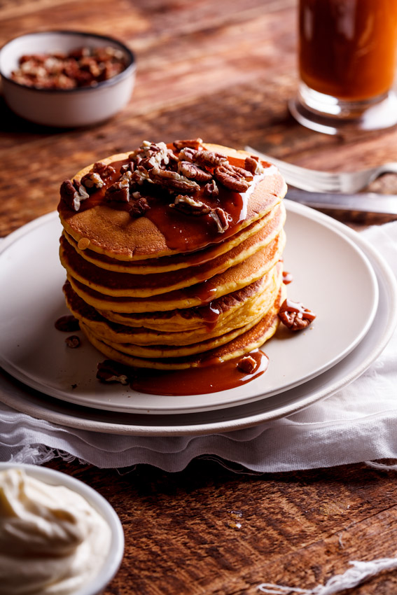 Whole-wheat pumpkin pancakes with salted caramel