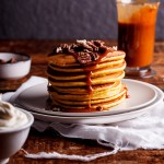 Whole-wheat vanilla pumpkin pancakes with salted caramel
