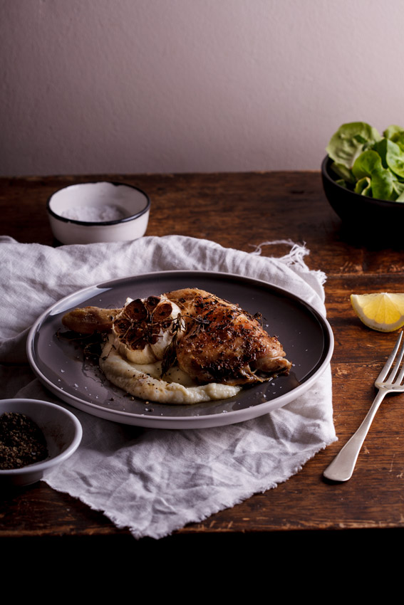 Roasted chicken with cauliflower purée