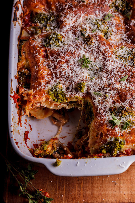 Vegetarian lasagna with basil pesto and ricotta