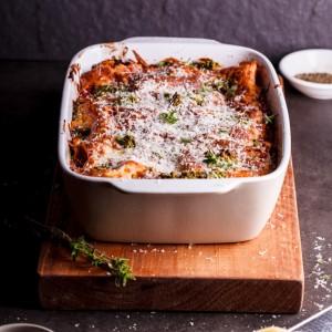 Vegetarian lasagna with basil pesto and ricotta