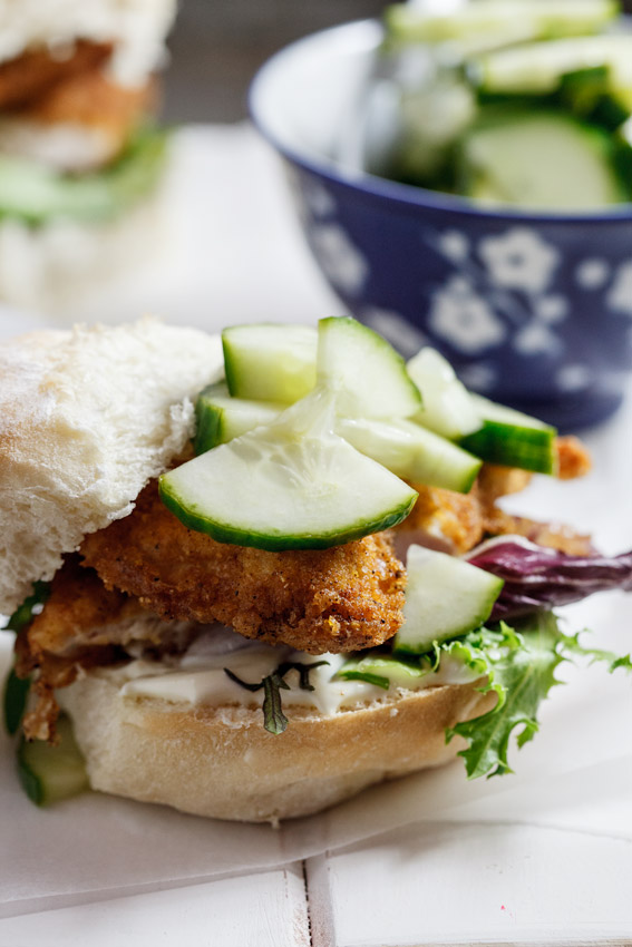 Crumbed chicken rolls with pickled cucumber