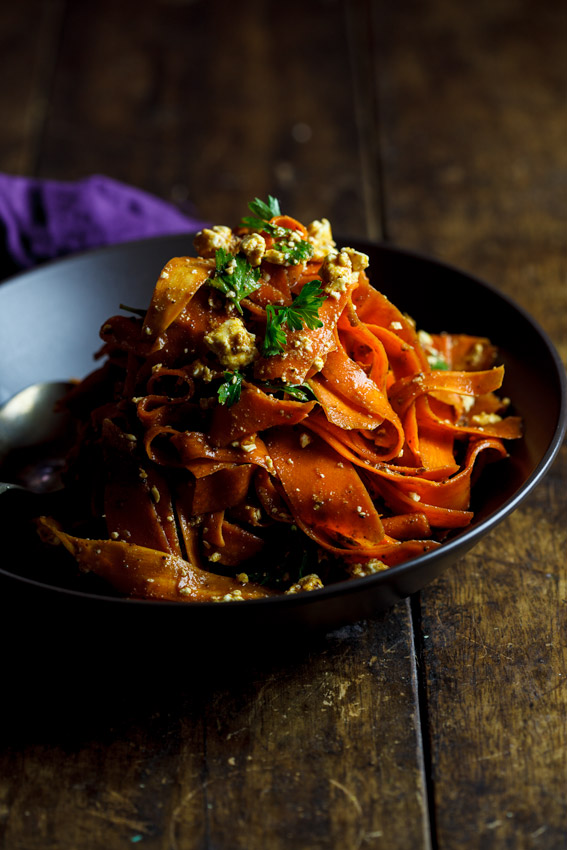 Harissa Carrot salad with feta cheese