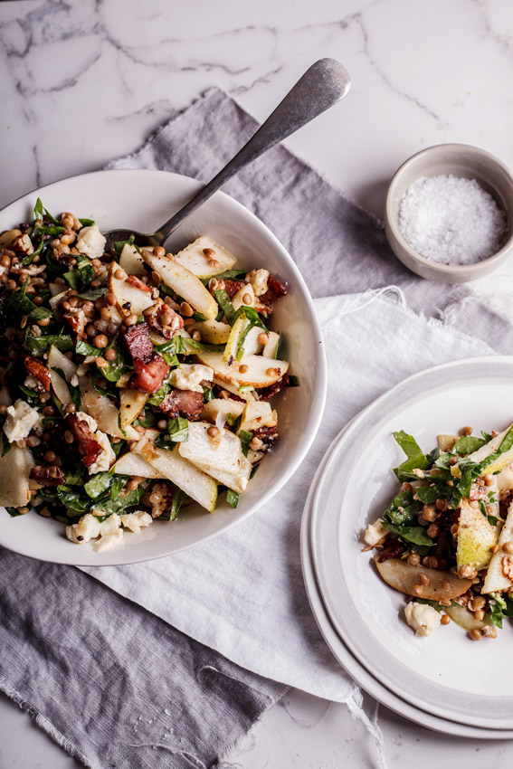 Lentil salad with pear, bacon and blue cheese