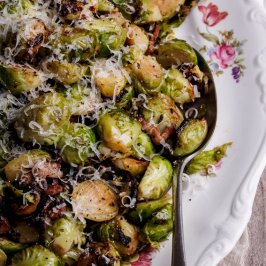 Braised Brussels sprouts with bacon