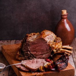 The perfect prime rib beef roast. Golden and seared on the outside with a tender, unctuous interior.