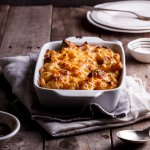 Macaroni and cheese with brussels sprouts