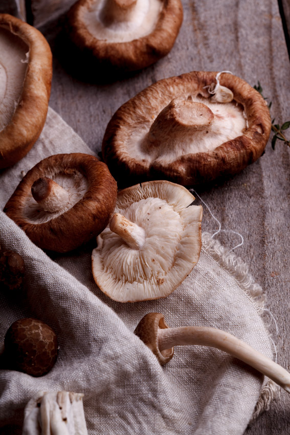 Exotic mushrooms used in mini chicken pies.