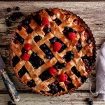 Mixed berry lattice pie