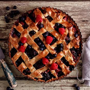 Mixed berry lattice pie