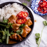 Spicy coconut chicken curry bowls with cardamom Basmati rice
