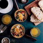 Baked eggs with creamy spinach, chorizo and feta cheese