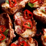 Cheesy jalapeño popper potato skins