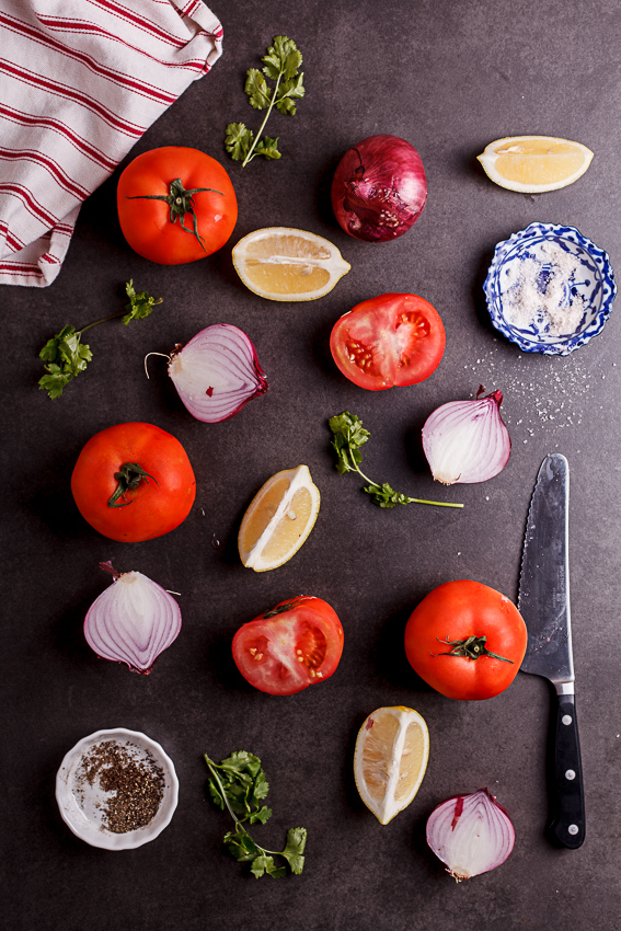 Ingredients for pico de gallo