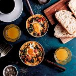 Baked eggs with chorizo and spinach