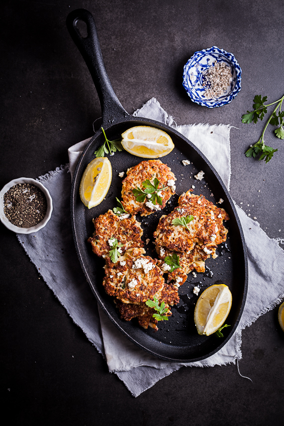 Cauliflower and feta fritters