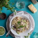 Chicken & mushroom pasta with basil pesto