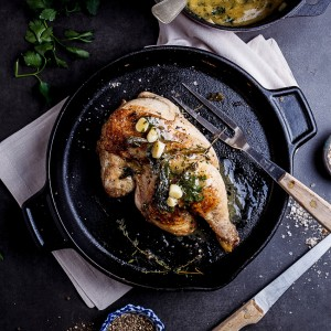 Pan roasted chicken with lemon garlic butter
