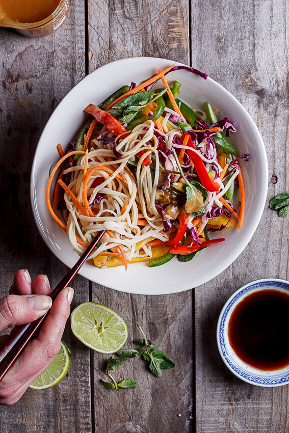 Asian noodle salad with peanut ginger dressing