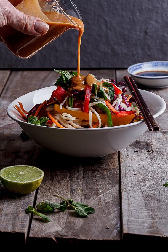 Asian noodle salad with peanut ginger dressing