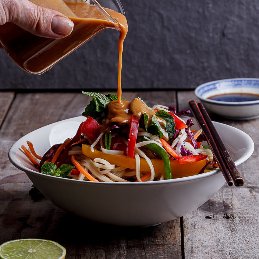 Rainbow Asian noodle salad with peanut ginger dressing - Simply ...