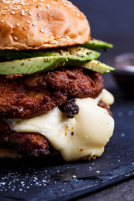Crispy Chicken Mozzarella And Avocado Burgers With Lemon Mayo Simply Delicious