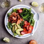 Grilled trout salad with sriracha lime dressing